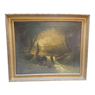Antique Waterfall Landscape Framed Painting