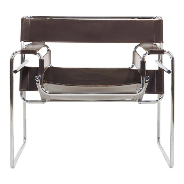 Early Original Knoll Gavina Wassily Chair by Marcel Breuer in Brown Leather  - Image 1 of