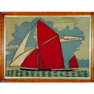 Sailor's Woolwork (Woolie) of a Thames Barge with banner reading Harry & Nellie, Circa 1885-1900