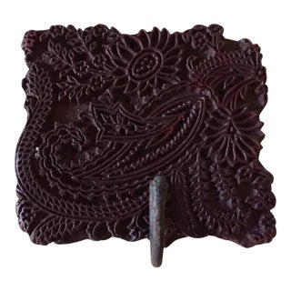 19th Century Textile Printing Block Hook