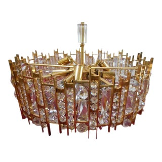 Mid Century Gilt Brass & Crystal Chandelier
