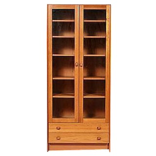 1970s Danish Teak Glass Front Bookcase