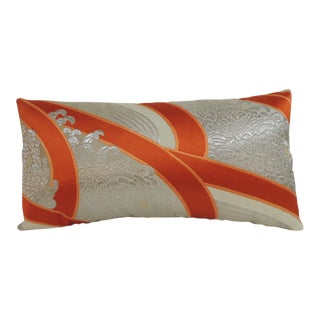 Vintage Kimono Sash Silk Embroidery Lumbar Decorative Pillow.