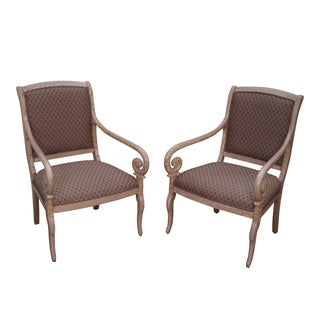 Quality Crackle Painted Regency Arm Chairs - Pair