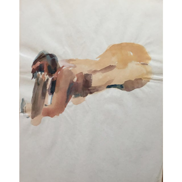 Image of 1970's Expressionist Watercolor, Female Nude Study