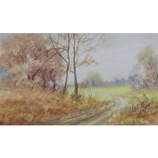 Country Backroad Landscape Watercolor