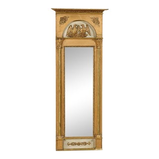 19th Century Swedish Gilded and Painted Slender Wooden Mirror