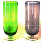 Image of Footed Base Glass Vases - A Pair