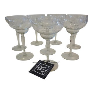 Vintage Etched Glass, Double Bowl Champagne Coups- Set of 8