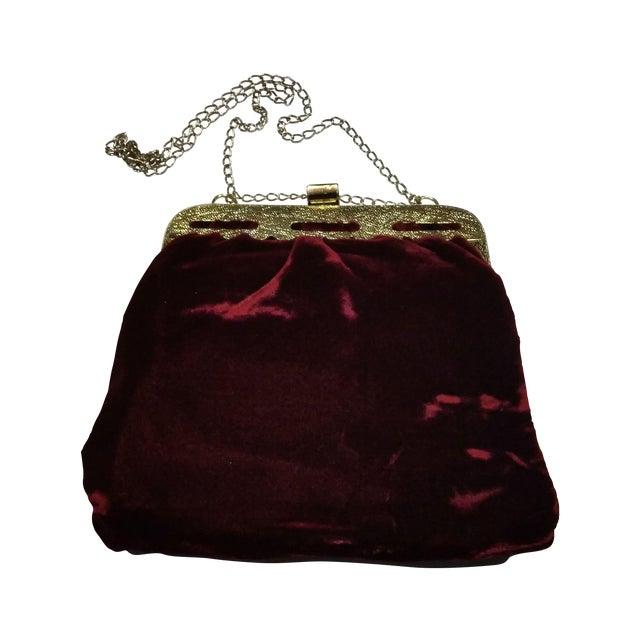 Image of Vintage Crimson Crushed Velvet Evening Bag