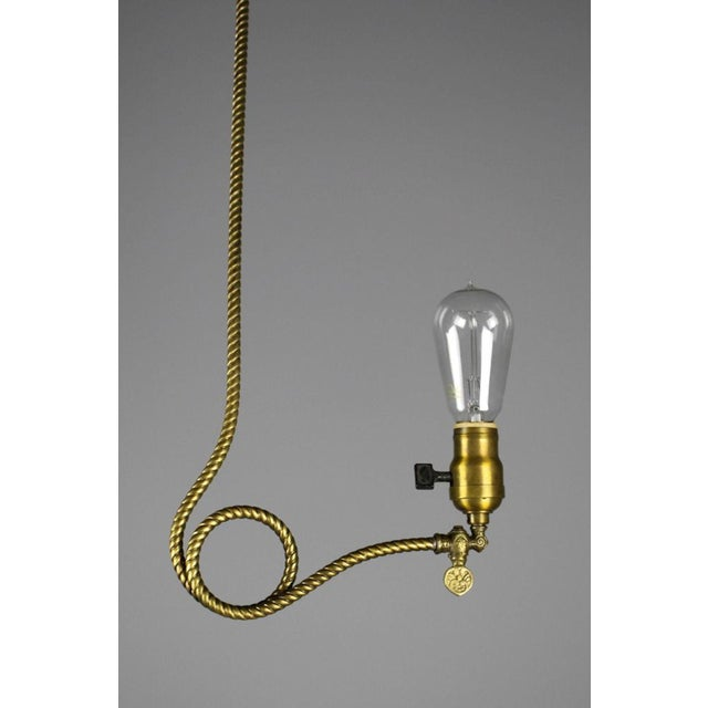 Rare Industrial Converted Gas-Electric Pendant with Engraved Stem - Image 3 of 7