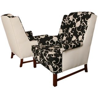 Pair Modern Wormley Style Wingback Chairs