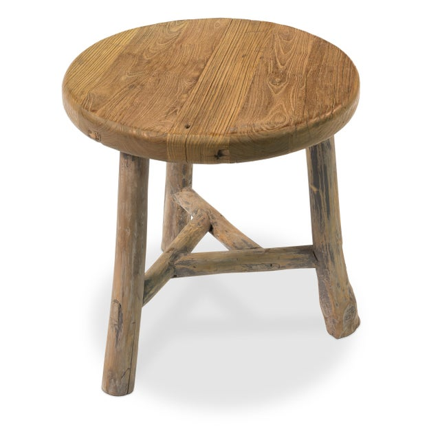 Antique Sarreid LTD Elm Round Side Table - Image 2 of 5