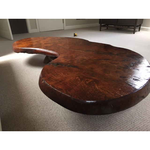 Redwood Coffee Table: Mid Century Redwood Burl Coffee Table