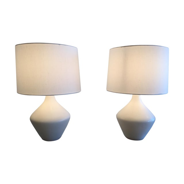 Mid-Century Ceramic Table Lamps With Shades - Pair - Image 1 of 7
