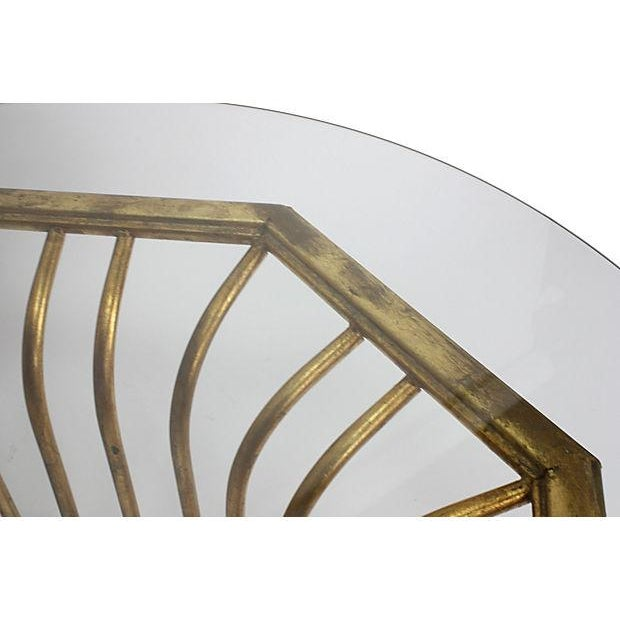 Italian 20k Gold Leaf Round Coffee Table - Image 4 of 5