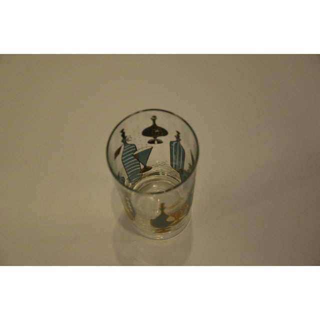 Image of Eight Mid-Century Tom Collins Glasses with Exotic Barware Decoration and Caddy