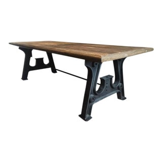Industrial Reclaimed Top Trestle Table
