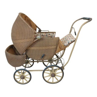 Very Cool Antique Victorian Wicker Baby Stroller Carriage c1890