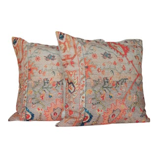 Vintage Multi-Colored Print Pillows - A Pair