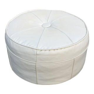Mid-Century Large White Vinyl Hassock