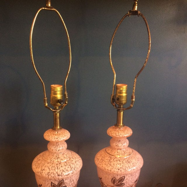 Mid-Century Pink Glass Lamps - a Pair - Image 5 of 8