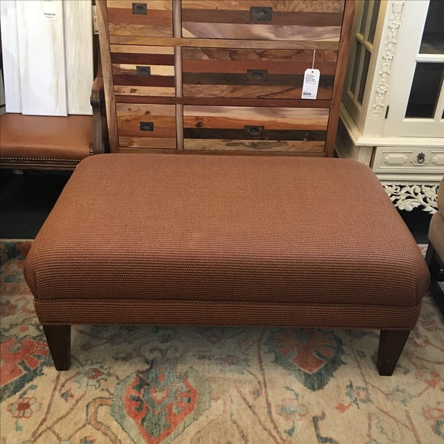 Reed and Leather Upholstered Ottoman - Image 2 of 7