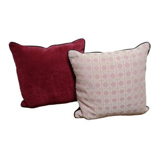 Raspberry Down Blend Throw Pillows - A Pair