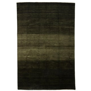 "Green Gabbeh Hand Knotted Area Rug - 5'8"" X 8'6"""