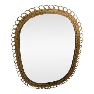 Franco Albini-Style Wicker Mirror