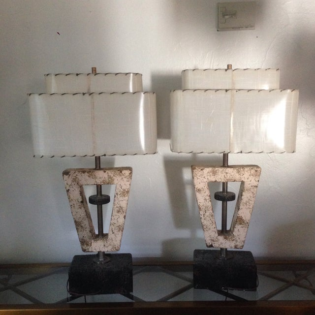 Deco Butterfly Cork Lamps - A Pair - Image 4 of 10
