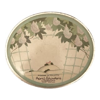 "Antique, Deco-Era Tin Box, ""April Showers"""