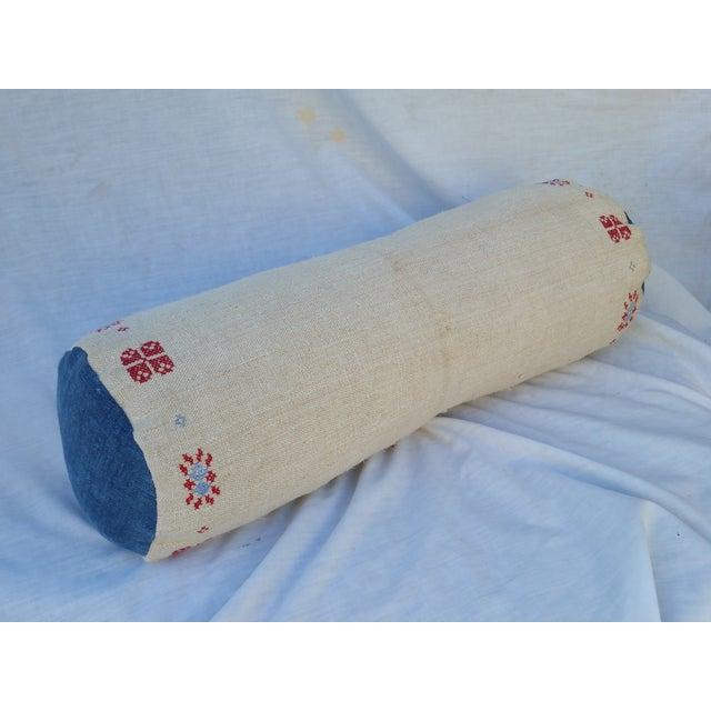 Homespun Embroidered French Grain Sack Neck Pillow - Image 2 of 4
