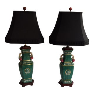 Chinoiserie Emerald Green Lamp - A Pair