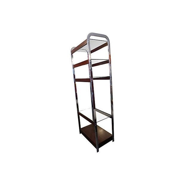 Image of Chrome and Wood and Glass Etagere by Lane