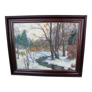 Vintage Oil on Board Winter Landscape by Gloria May Bullock