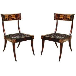 Pair of Faux Bronze Metal Hand-Painted Klismos Italian Chairs