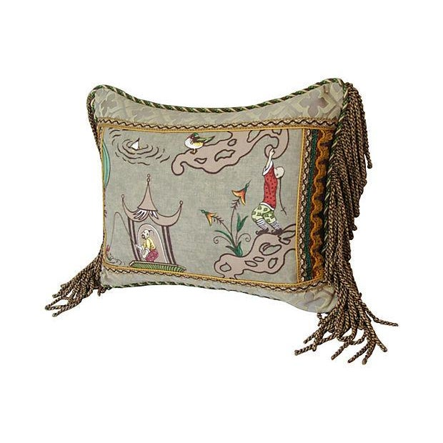 Italian Scalamandre Ping Chinoiserie Pillow - Image 3 of 4