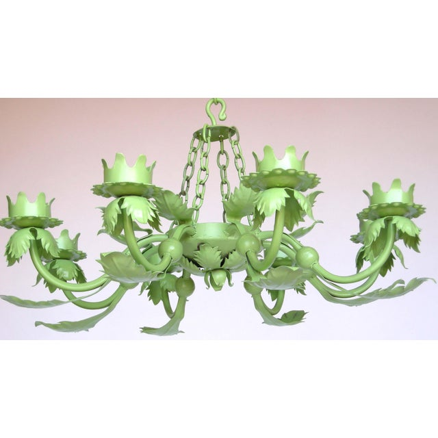 Painted Wrought Iron Chandelier - Image 5 of 7