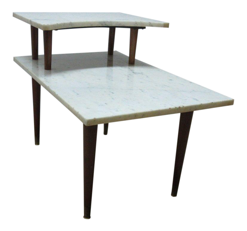 Danish Modern Marble Top Floating End Table
