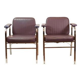 Mid-Century Modern Reclining Purple & Chrome Chairs- A Pair