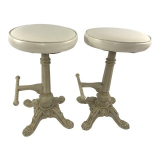 Antique Cast Iron Counter Stools With Foot Pegs - a Pair