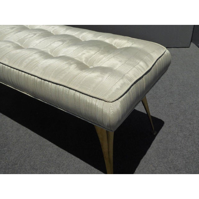 Jonathan Adler Mid-Century Modern Style Bench with Brass Legs - Image 9 of 11