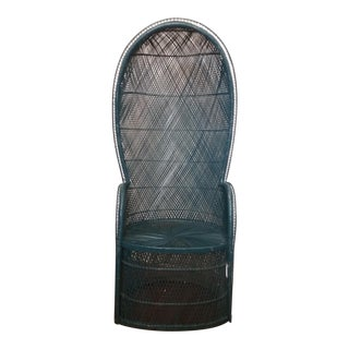 Vintage Boho Rattan Canopy Chair