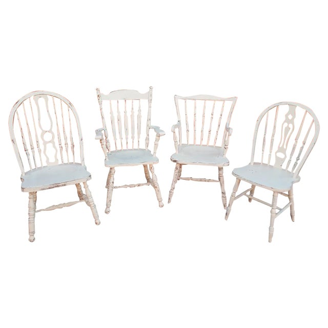 Mis-Matched Dining Chairs: Distressed in White - Image 1 of 4