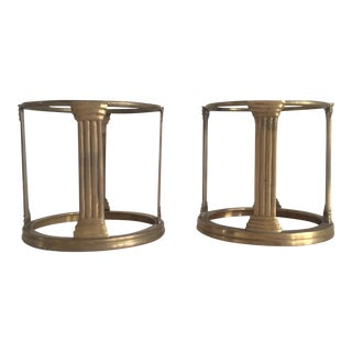 Brass Column Pillar Candle Holders - A Pair