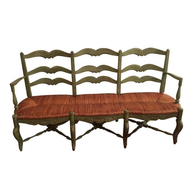 French Country Radassie Rush Seat Wooden Bench Chairish