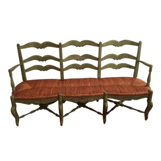 French Country Radassie Rush Seat Wooden Bench