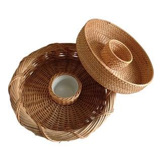 Boho Basket Serving Trays - A Pair