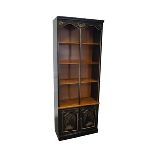 Ethan Allen Hitchcock Style Maple & Black Stenciled Tall Bookcase